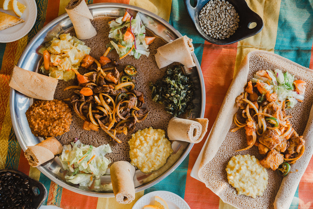 Beef and fish tibs from Desta's Ethiopian Cuisine.