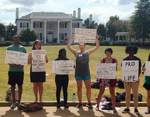 A pro-choice Demonstration in front of Auburn's Cater Hall, 2014
