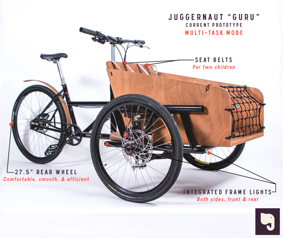 "Our Cargo Bike prototype has two different modes.  ""Truck"" mode (seen in the previous photos) or ""Multi-Task"" seen here.  This mode allows for infinite transportation options. -"