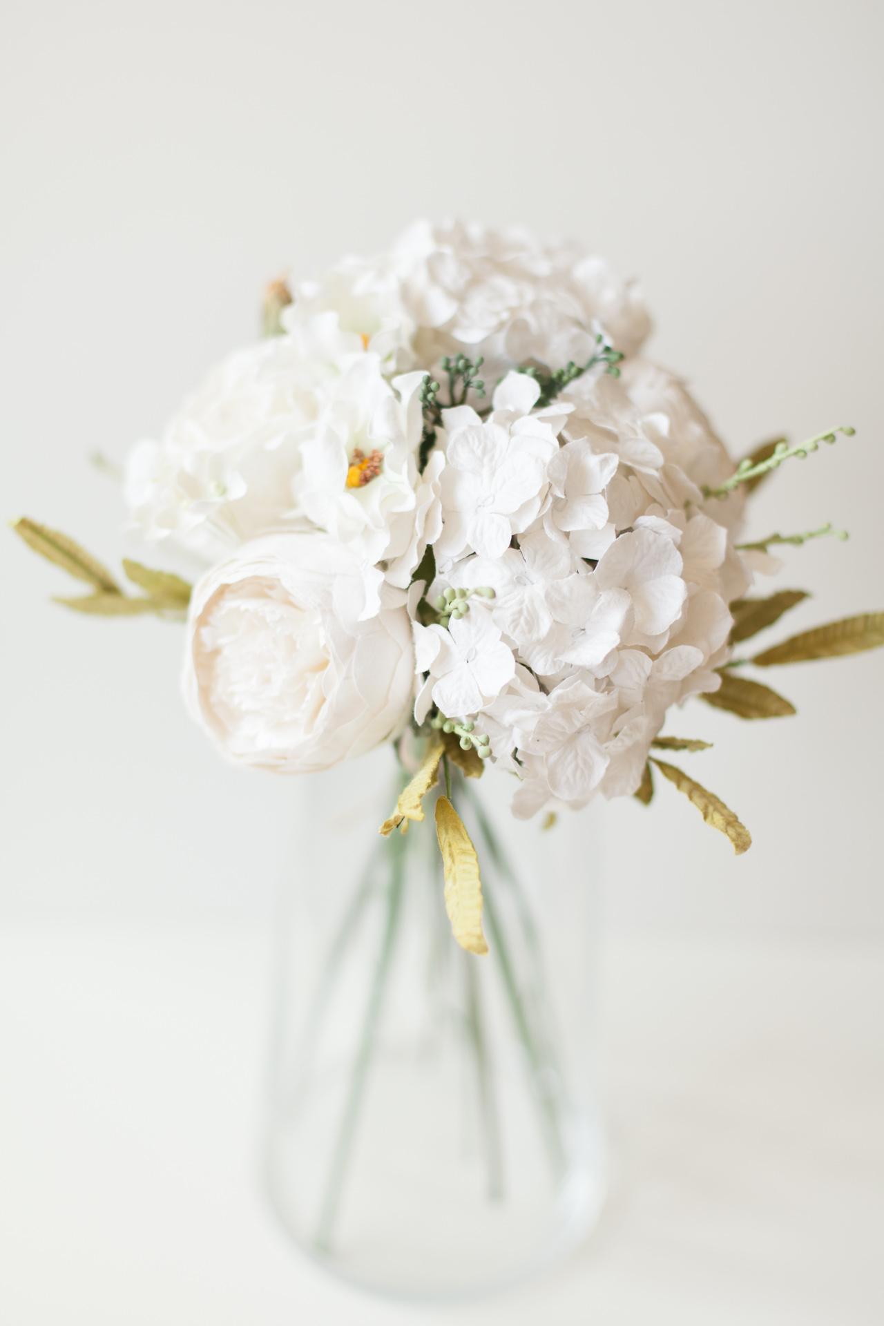 Paper Flower White Hydrangea Bouquet