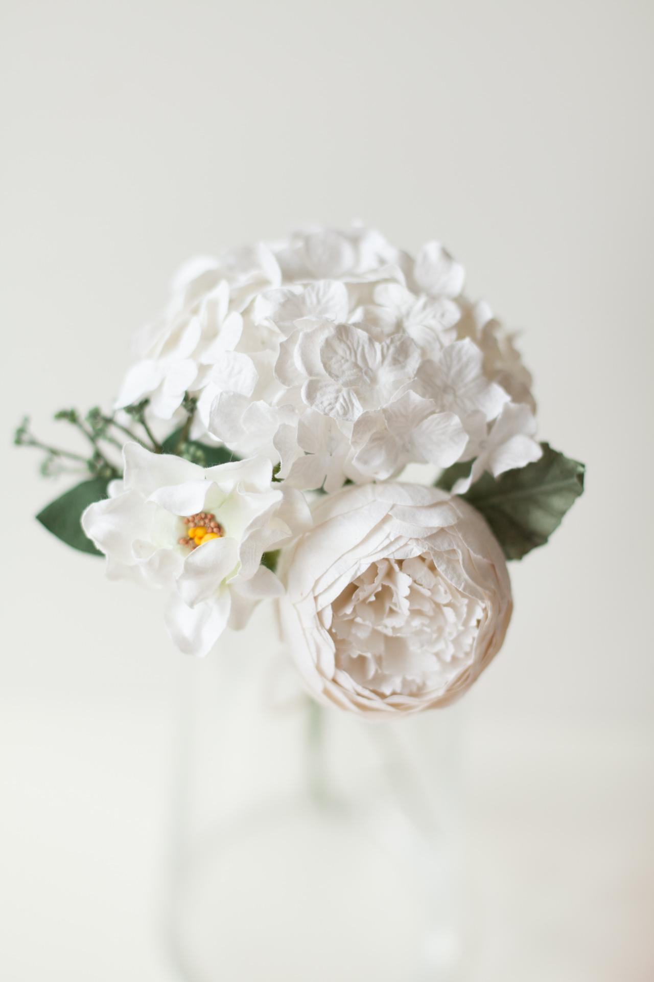 Paper Flower White Peony Posy