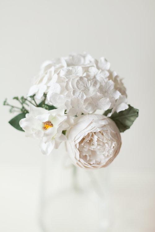 Posy Pot Paper Flower White Peony Posy