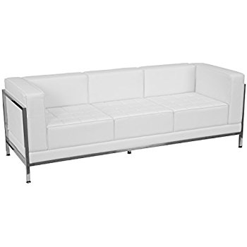 White & Chrome Tufted Sofa
