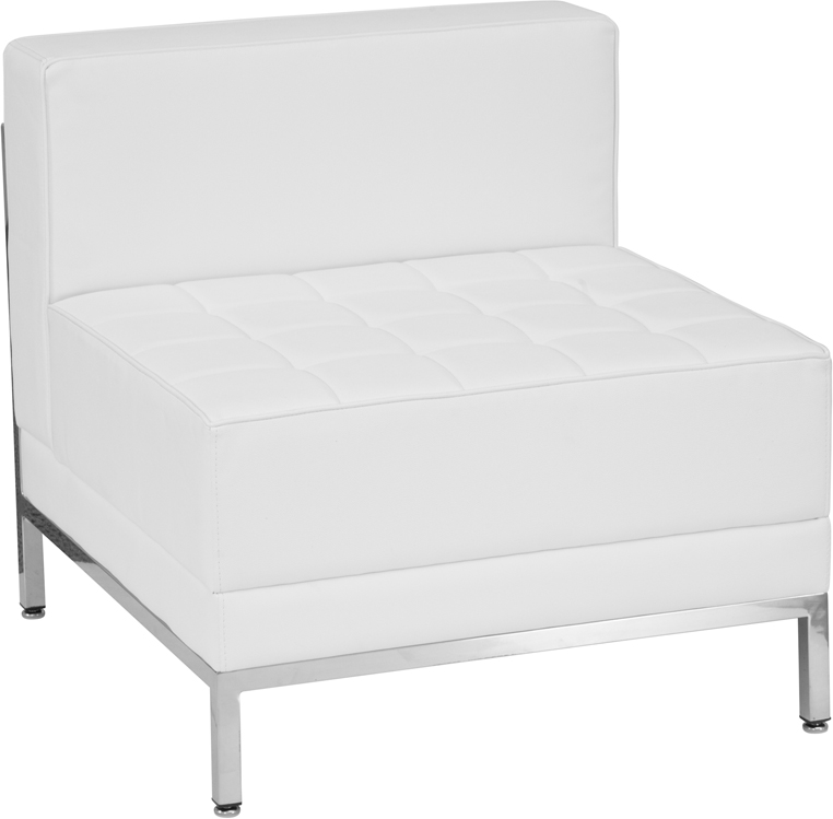 White & Chrome Tufted Club Chair