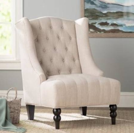 Linen Wingback Tufted Chair