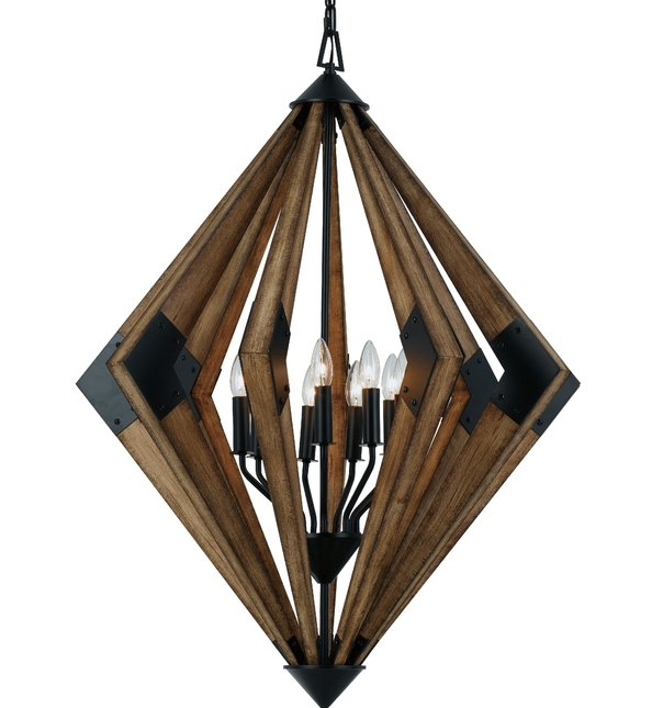 "Wood & Metal Geometric Chandelier 40"""