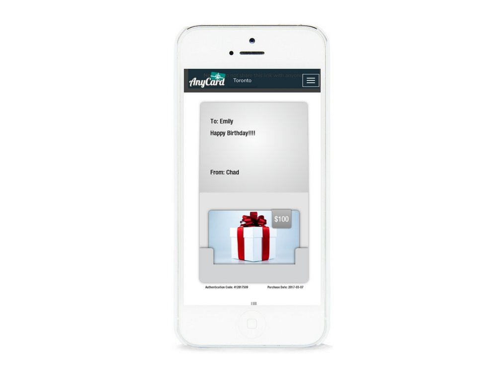 To redeem, customers simply show the e-gift card on their mobile device and the authentication code with the amount being redeemed is entered through the AnyCard web-based login.