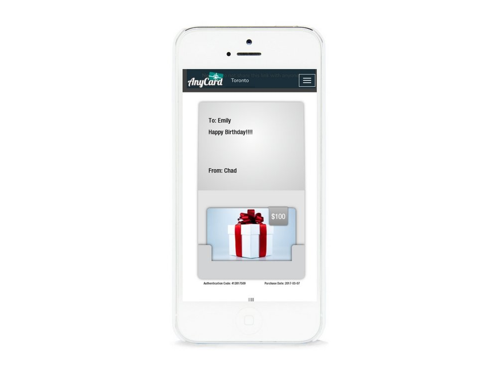 REDEEM    To redeem, customers simply show the e-card on their mobile device and the merchant either scans or enters the authentication code with the amount being redeemed in the AnyCard dashboard.