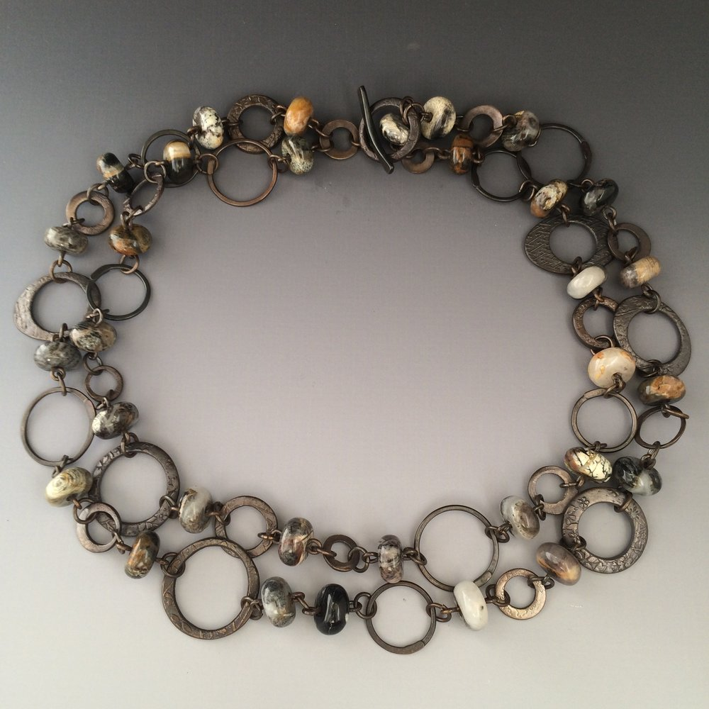 Silver Leaf Jasper & Bronze Link necklace 2010
