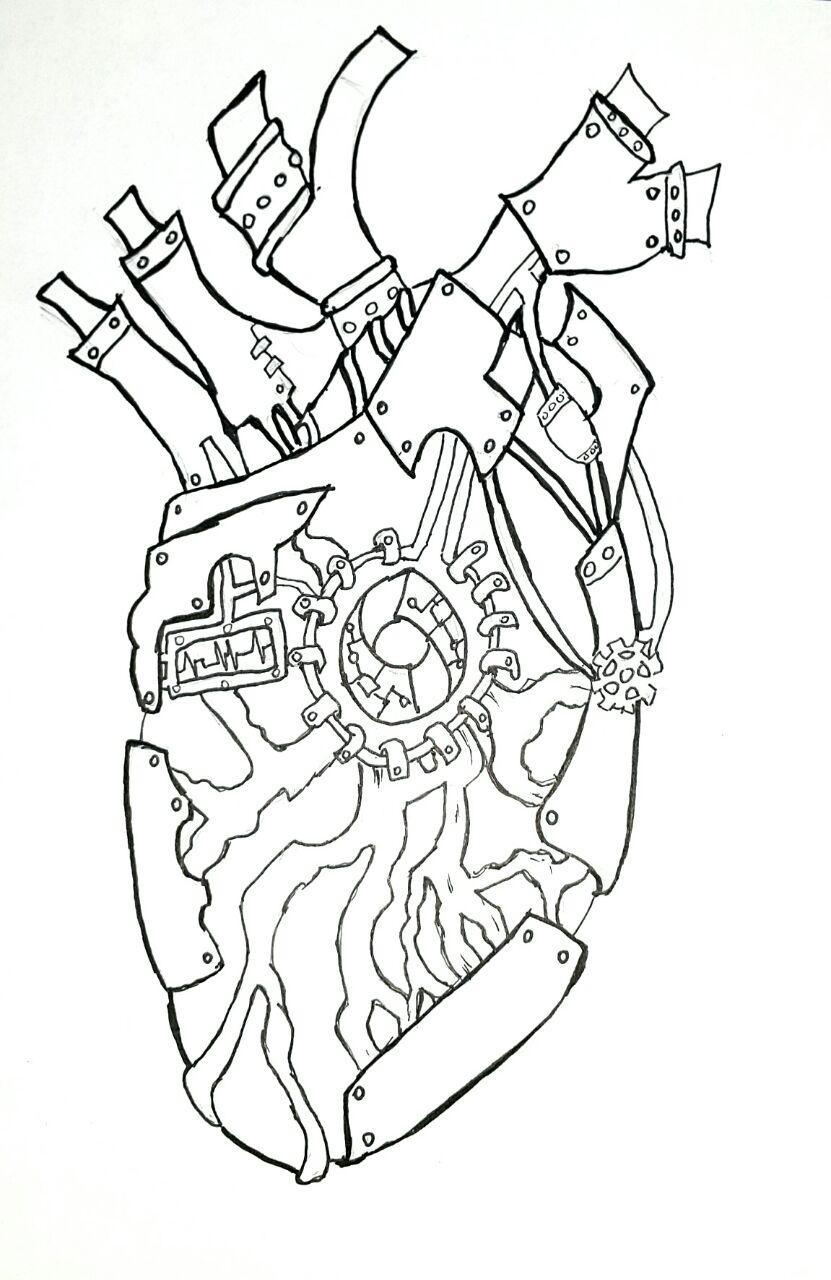 Back of Heart - inked sketch