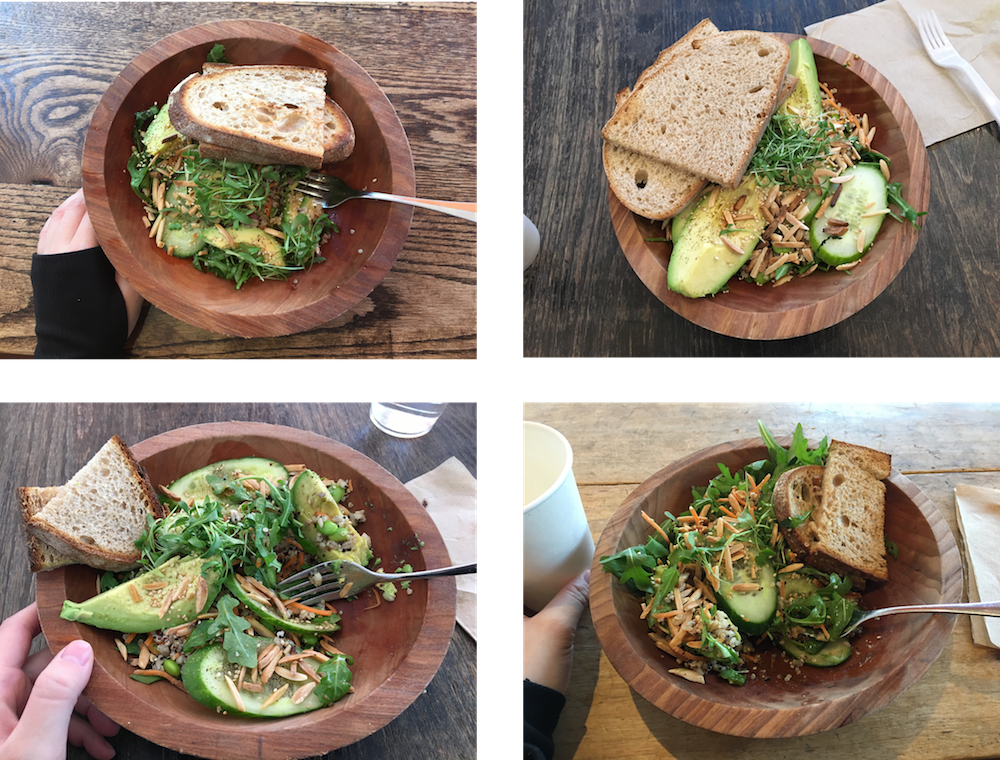 Four times I ate the same fancy salad.   Image description: A grid of four photos, each featuring salad and bread in a wooden bowl on a wooden table. Three of the photos have a pale hand on the left side, presumably belonging to the person eating and photographing the salad.