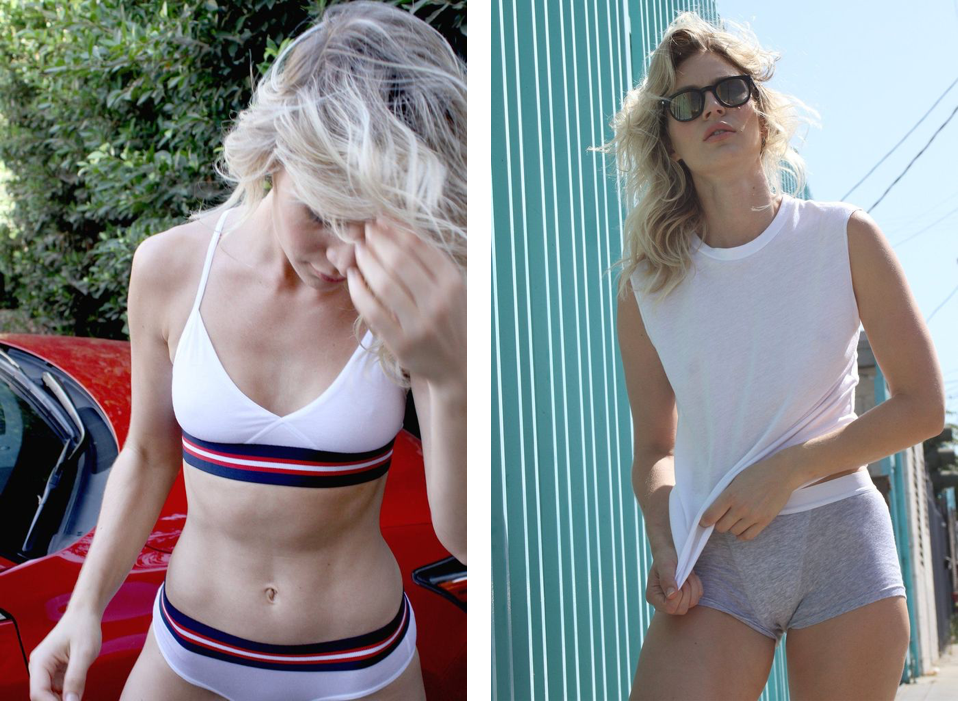 Left:  King's Cross Bra  ($36) +  DTLA Brief  ($32)  Right:  Muscle T  ($40) +  Silverlake Short 2  ($36)   Image description: Two photos side by side taken outdoors in the sun. On the left, a model with light skin leans on a red car, looking down and brushing their blond hair out of their face. They are wearing a matching white underwear set with navy blue, red, and white striped elastic bands at the waist and underbust. On the right, a model with light skin and wavy blond hair stands on the sidewalk next to a turquoise wall or fence. They are wearing sunglasses, a white sleeveless t-shirt, and heather gray boxer briefs with a white elastic waistband. Photos by Sloane & Tate.