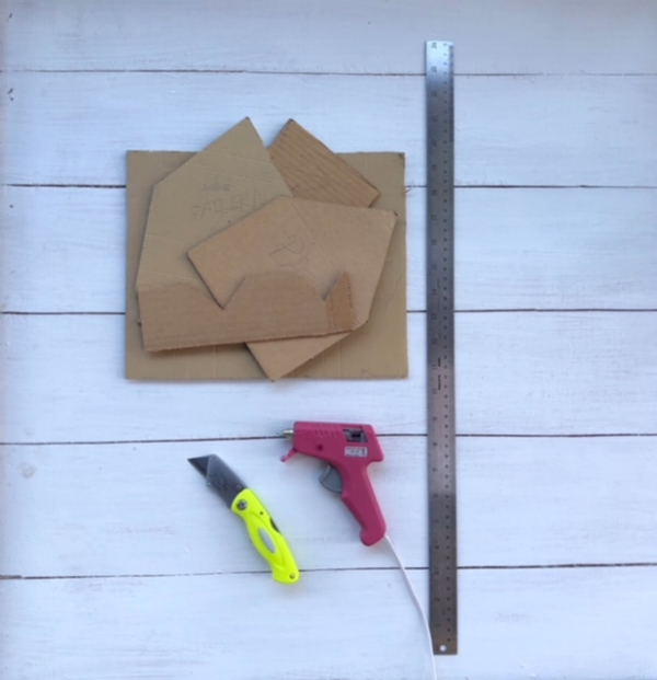 Supplies: Cardboard Template Pieces + Craft Knife + Glue Gun/glue stick +Ruler