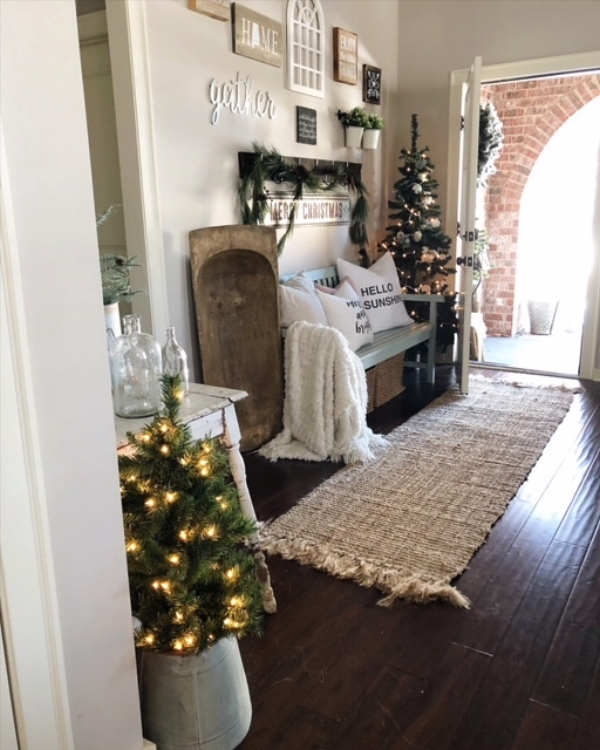 Angle #3 of our entryway, decorated for Christmas.