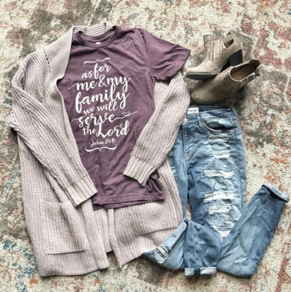 One of my spring brand reps, Charli @motheroftheyearadventures shared this adorable outfit with our Bible verse t-shirt.