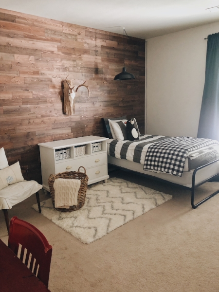 A view of the finished rustic wood accent wall.