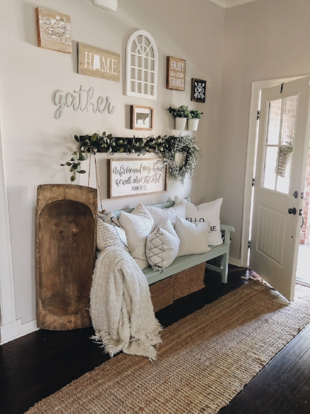 This bench in our entryway is always fun to adorn with pillows and I enjoy changing them out seasonally.