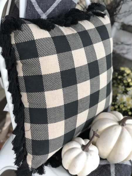 buffalo check pillow + trim