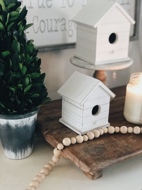 Shiplap bird houses, boxwood greenery, and sign are all from Krumpet's Home Decor  here .  Use code SHEGAVEITAGO for a discount!