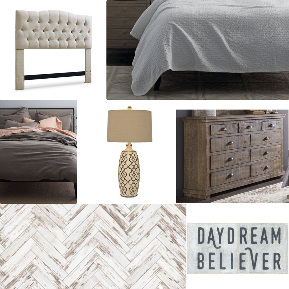 Master Bedroom Mood Board option 1. You can find my headboard  HERE .