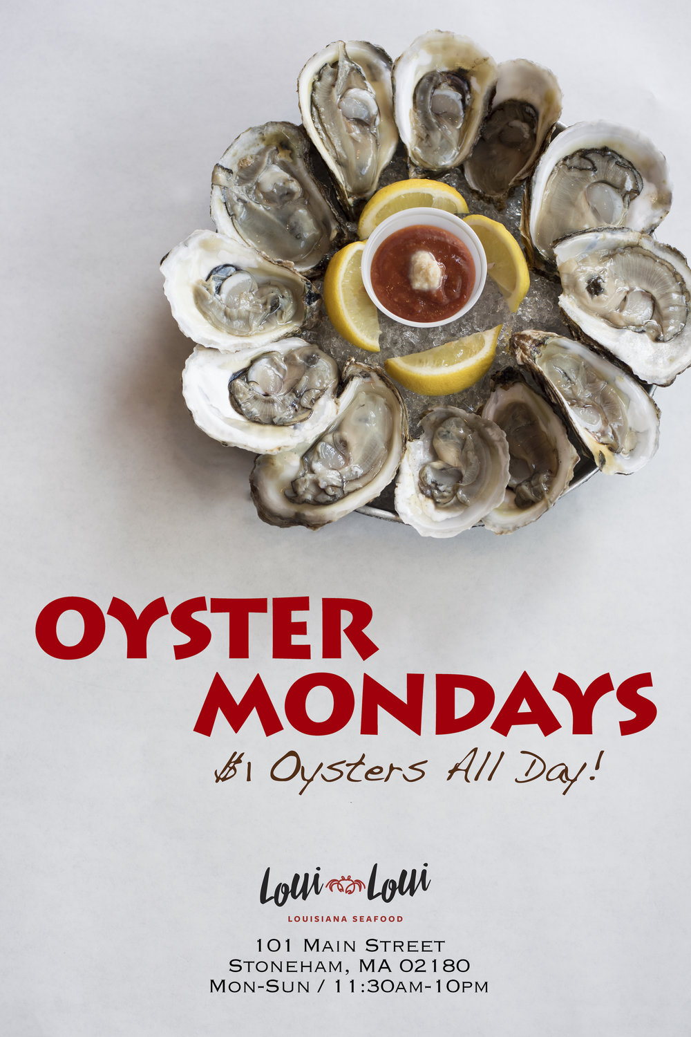 Enjoy $1 Oysters All Day Monday   -