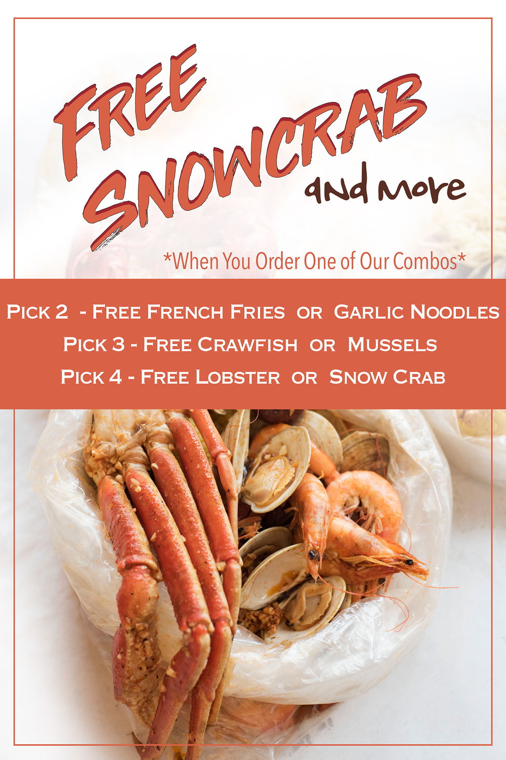 Get free snowcrab and more when you order one of our combos! (Ongoing) -