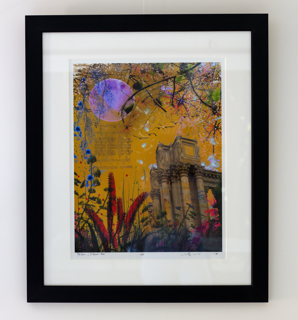 Collage with buildings, mood and flowers