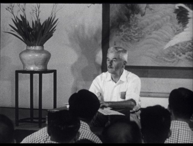 Did you know that #Faulkner traveled the #world for the #State Department in the 1950s? Check out this video still from his time talking to scholars in #Nagano, #Japan. -- Still from print of film in the William Faulkner collections, Albert and Shirley Small Special Collections Library, University of Virginia