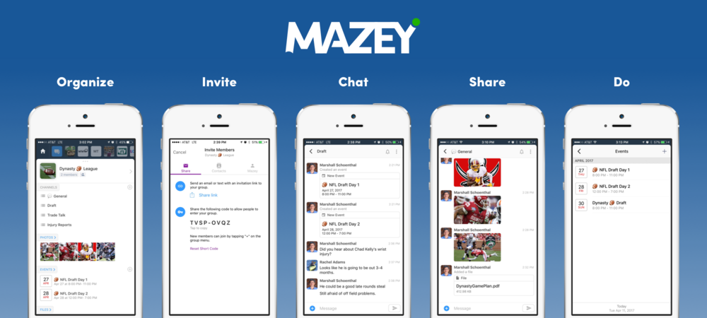 The Mazey group communication and messaging app is pretty awesome for fantasy sports groups, especially football. Keep your league organized, communicate on multi-channel chat, share important information, and organize events and gettogethers.