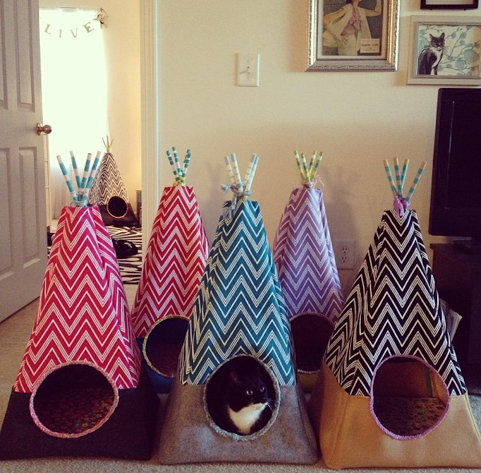 Cat teepees made on a whim one weekend as part of a crafting day with a friend