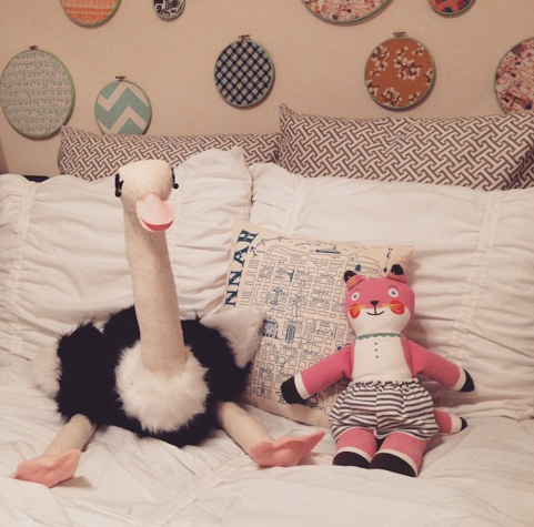 An ostrich stuffed animal I made one weekend when I had no plans