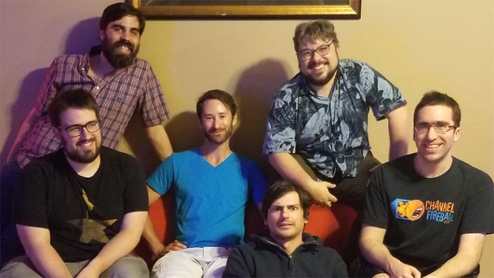 The Isle of Madness design team, from left to right: Sam Pardee, Andrew Baeckstrom, Josh Utter-Leyton (that's me!), Yuri Tolpin, Kevin Spak, Matthew Nass. Not pictured: Chuck Kallenbach. It appears that one of us has succumbed to the madness.