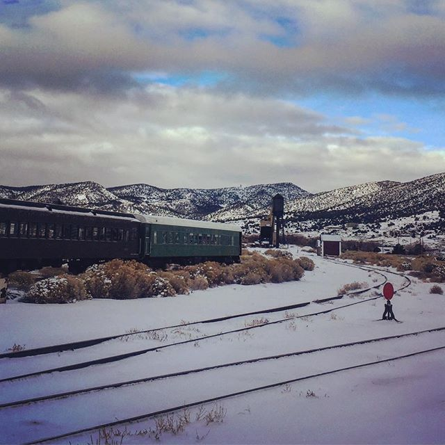 Morning at the @ghost_train_of_old_ely. #mountaintown #mountainlife #visitelynevada #getelevated #trains #nevada #snowday #history #rideelynv #howtonevada #vacation @travelnevada @trains_magazine @trainszine @trains_central @classic.trains @trains_worldwide