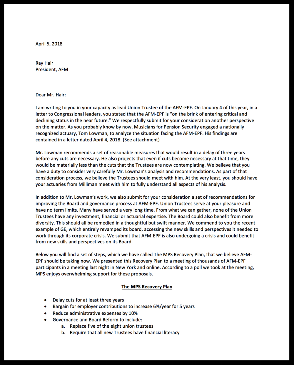 MPS has sent AFM President and Lead Union Side Trustee Ray Hair the attached letter urging him to adopt the MPS Plan. Click on the letter to read the full document.  -