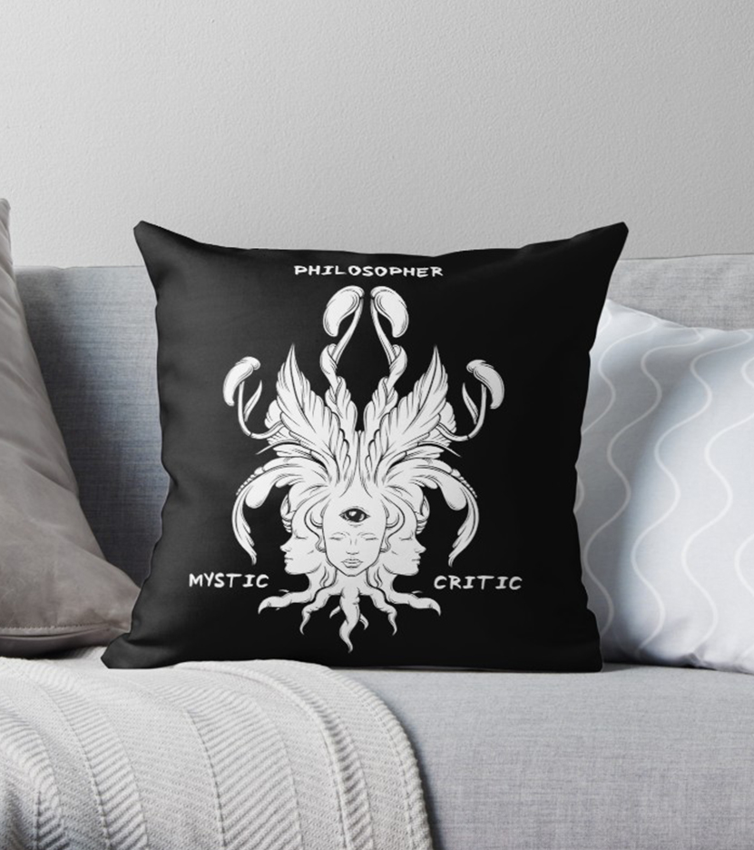 "Quote Throw Pillow ""Philosopher, Mystic, Critic"""