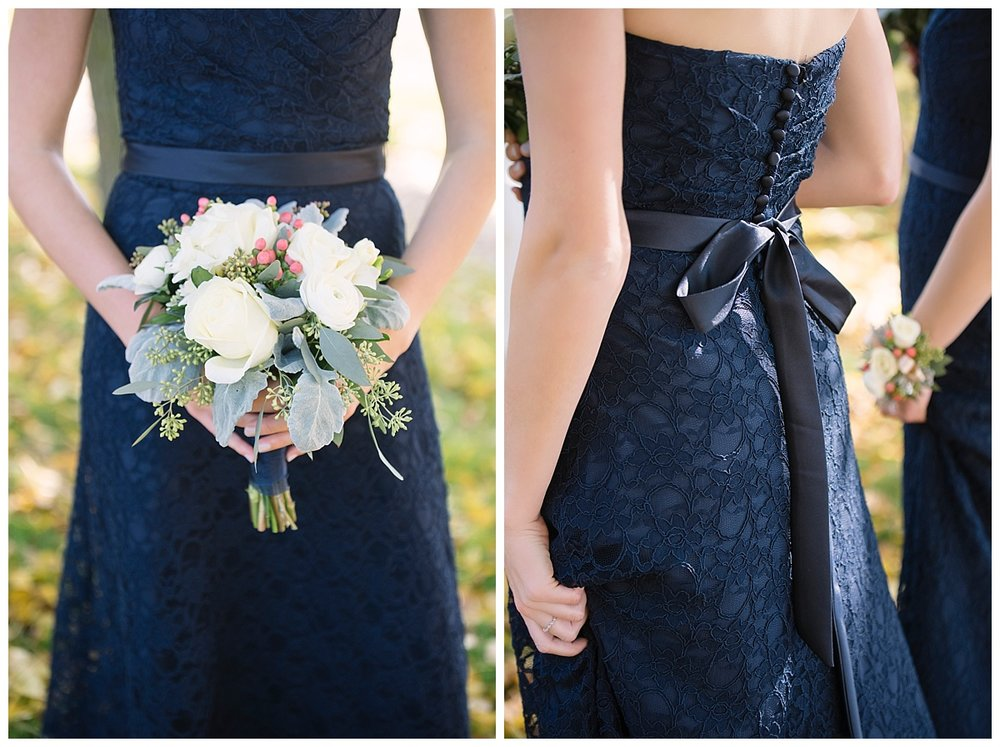 Navy Bridesmaids Dresses | Fall Minnesota Wedding Photographer | Bethany Melvin Photography