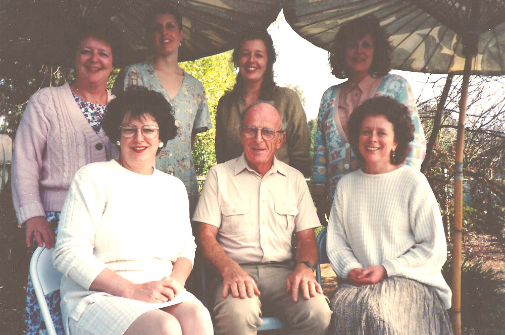 John Creech and his daughters.  Front Row from left to right: Andrea Richards (cole's Mom), JAck, And Nancy Creech.  Second Row: Kris Rowlen (Emily's Mom), Rondi Vasquez, Louisa Creech, and Kathy Childs.