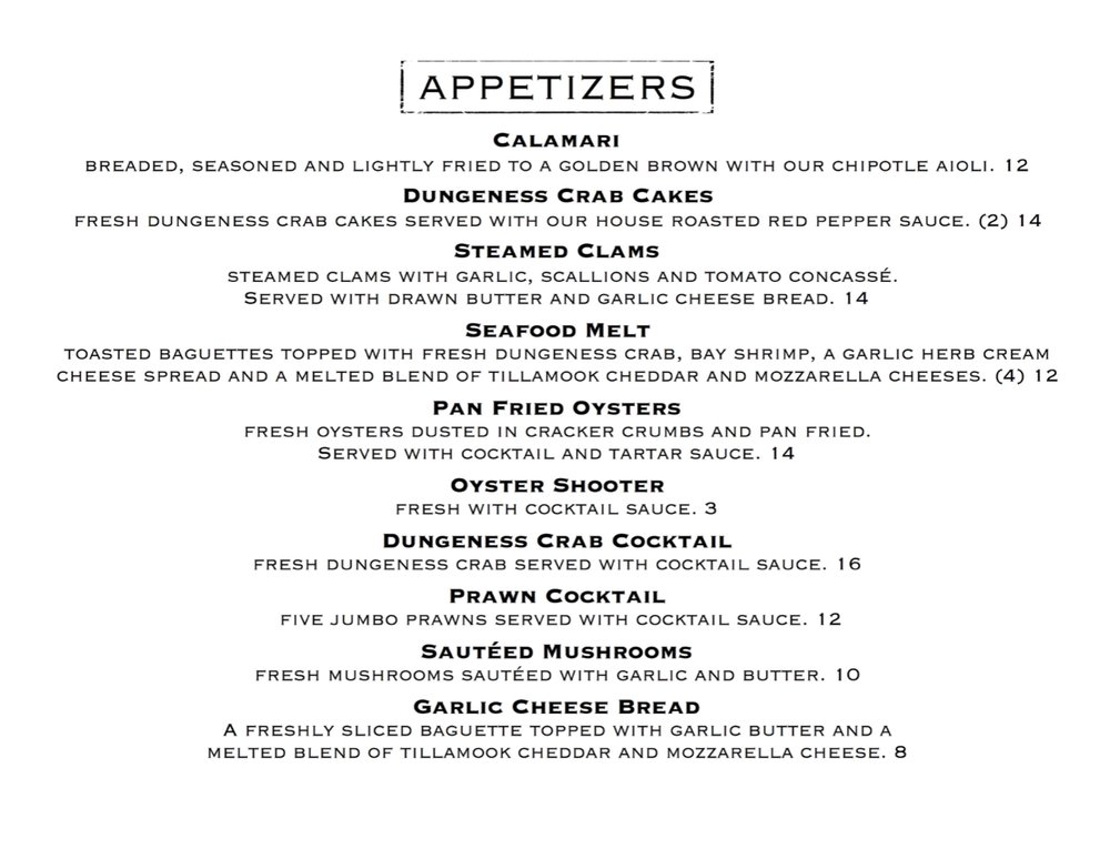 Appetizer Menu During Dinner