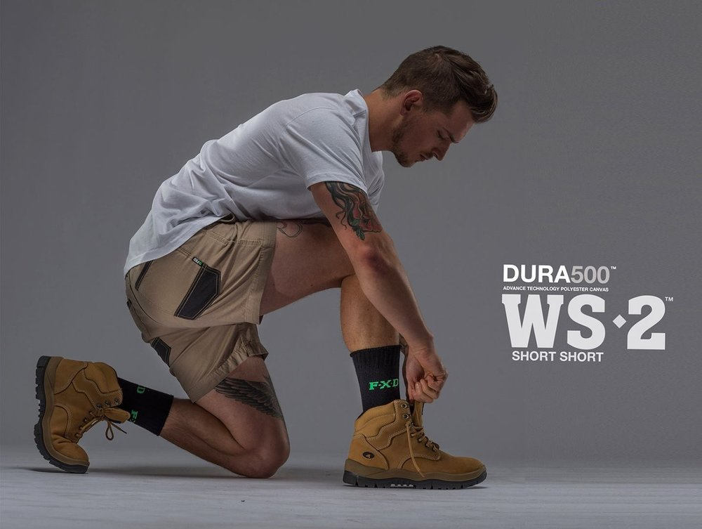 FXD WS-2 Work Short   Features:  -FX01136005 - Regular Fit -Sits On The Waist, Side Tab Ruler Pocket -7.3oz 3x1 LHT Twill -DURA500 Reinforced Pockets -Stretch Back Yoke -Double Layer Internal Pocket Bags -YKK Nylon Zip Fly -Stress Points Bar-Tacks -Triple Needle Stitching -Certified 50+ UVA & UVB Protection