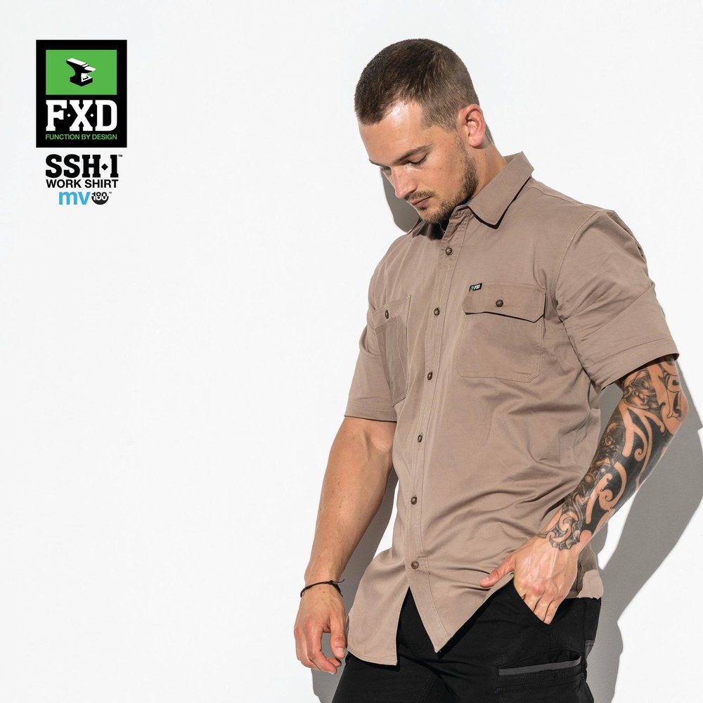 FXD SSH-1 Short Sleeve Shirt   Features:  -TAILORED FIT, 360 DEGREE STRETCH WORK SHIRT -MADE FROM 180 GSM 'MV-180' STRETCH COTTON FOR SUPERIOR MOVEMENT AND BREATHABILITY -FEATURES STRESS POINT BAR TACKS, TRIPLE NEEDLE SEAMS AND UTILITY POCKETS