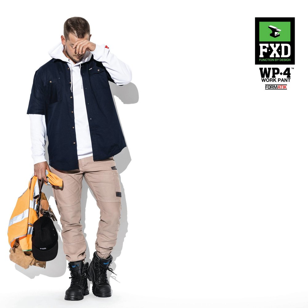 FXD WP-4 360 Degree Stretch Cuffed Work Pant   Features:  -HEAVY DUTY FORMATIK™ MULTI-DIRECTIONAL STRETCH COTTON -DURA500™ ADVANCE TECHNOLOGY POLYESTER ABRASION PANELS