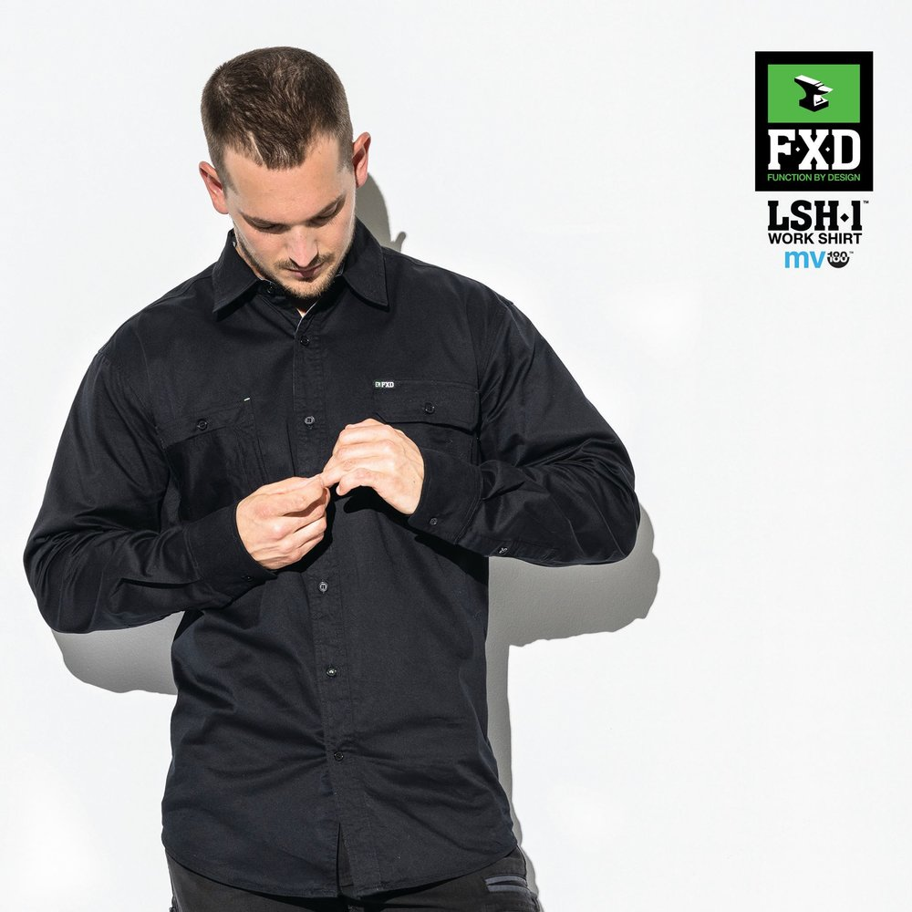 FXD LSH-1 Long Sleeve Shirt   Features:  -TAILORED FIT, 360 DEGREE STRETCH WORK SHIRT -MADE FROM 180 GSM 'MV-180' STRETCH COTTON FOR SUPERIOR MOVEMENT AND BREATHABILITY -FEATURES STRESS POINT BAR TACKS, TRIPLE NEEDLE SEAMS AND UTILITY POCKETS
