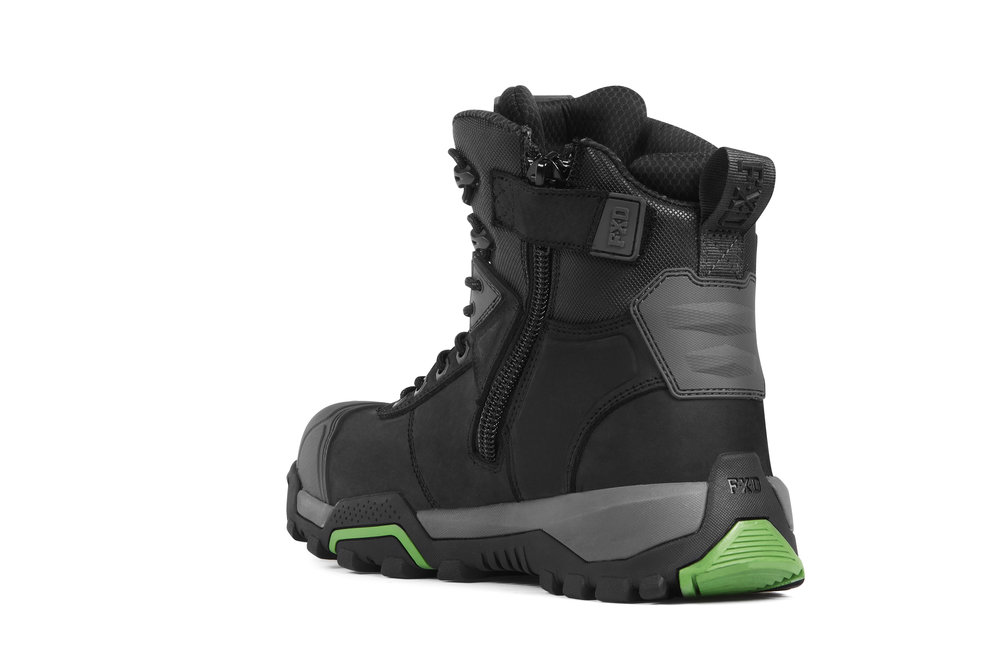 FXD WB-1 work boots (Black rear view)