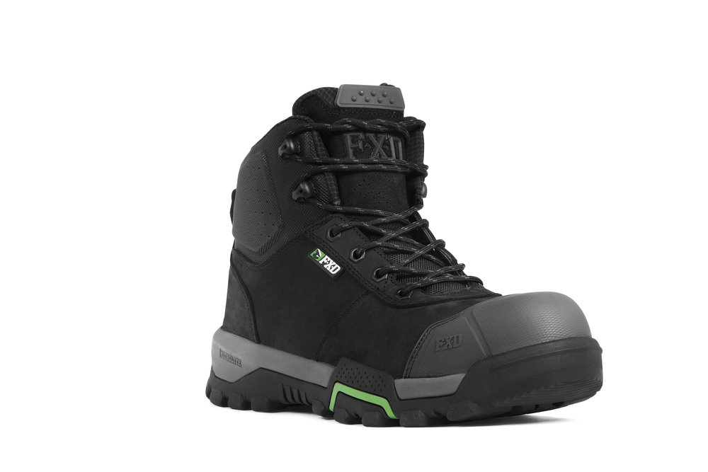 FXD WB-2 work boots (Black front view)