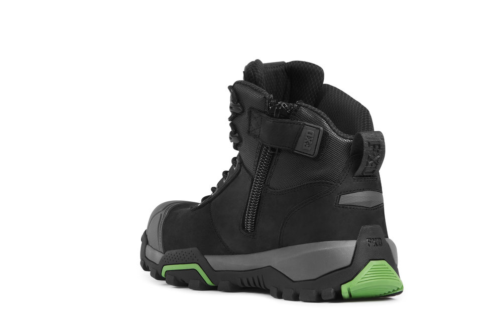 FXD WB-2 work boots (Black rear view)