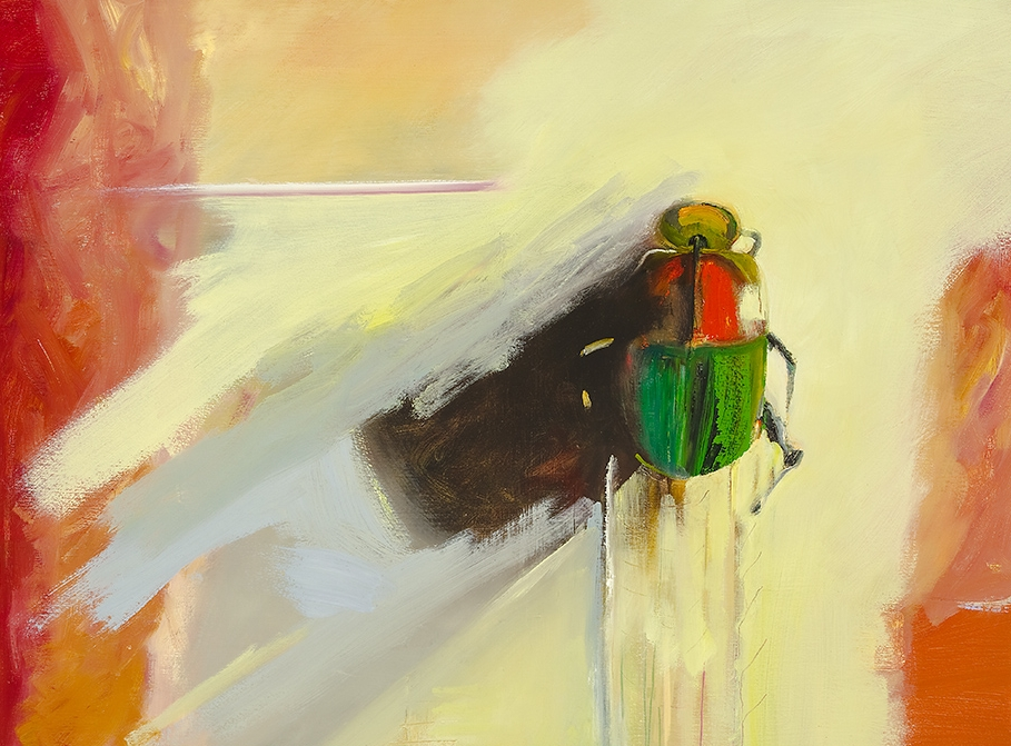 Gold Bug -- a painting by Thomas Joseph of a colorful bug climbing.