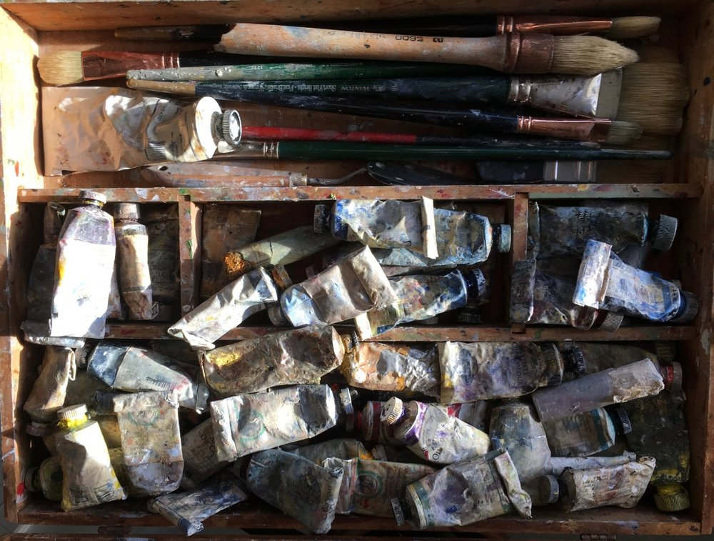 Thomas Joseph's well-used collection of oil paints and brushes.