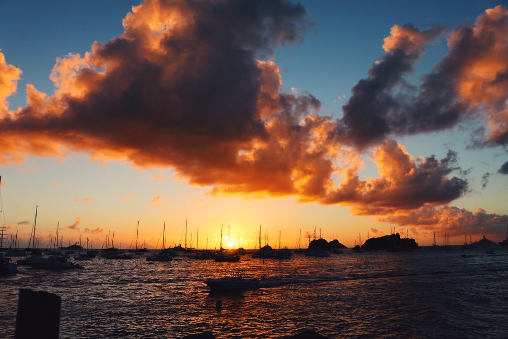 Amazing sunset over the bay in St. Barths