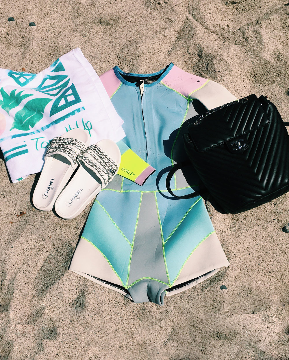 Tone It Up Retreat Outfit including Chanel Slides