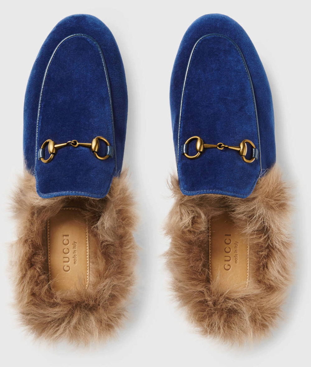 Gucci velvent fur slides